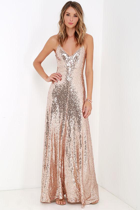 Beautiful Gold Maxi Dress - Sequin Maxi Dress - Backless Dress - $84.00