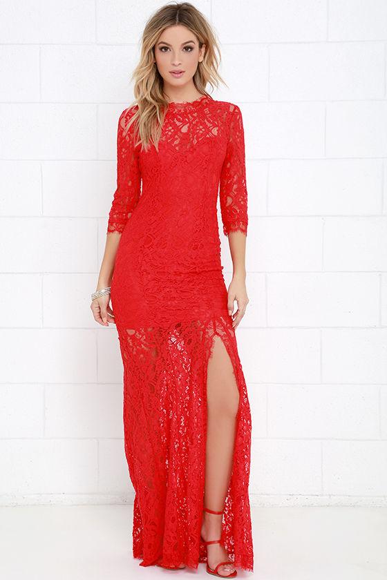 Gorgeous Red Dress - Lace Dress - Half Sleeve Dress - Maxi Dress ...