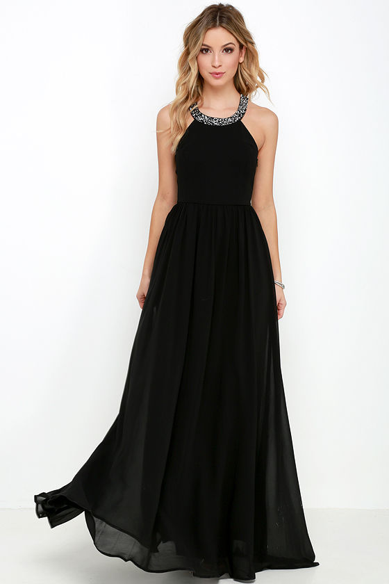 Black Gown - Maxi Dress - Beaded Dress - $76.00