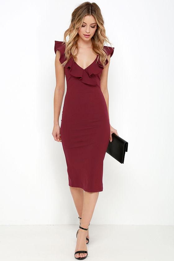 Chic Wine Red Dress Midi Dress Bodycon Midi Dress Ruffle Dress