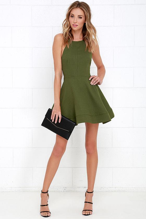 Cute Green Dress - Halter Dress - Skater Dress - $64.00