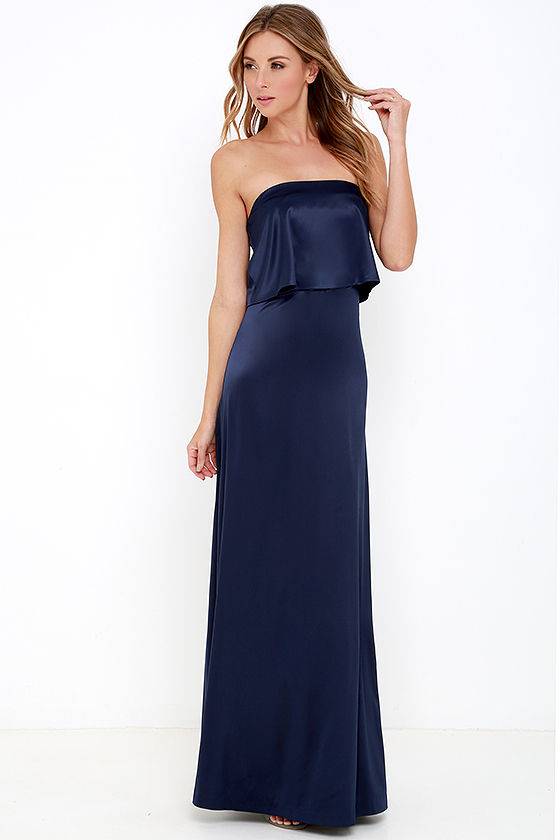 Lovely Navy Blue Maxi Dress - Strapless Maxi Dress - Satin Dress ...