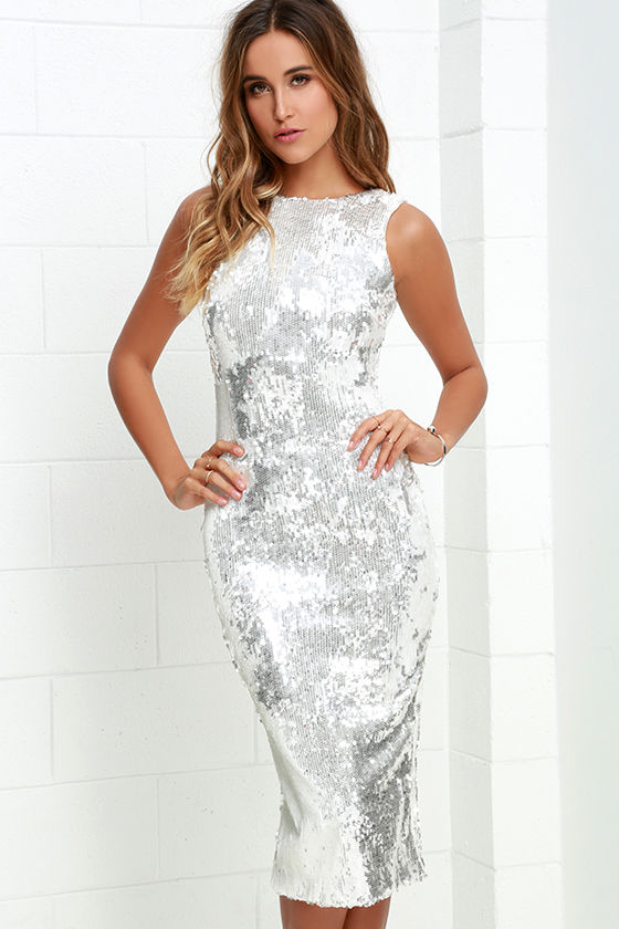 Dress The Population Audrey White And Silver Dress Sequin Dress