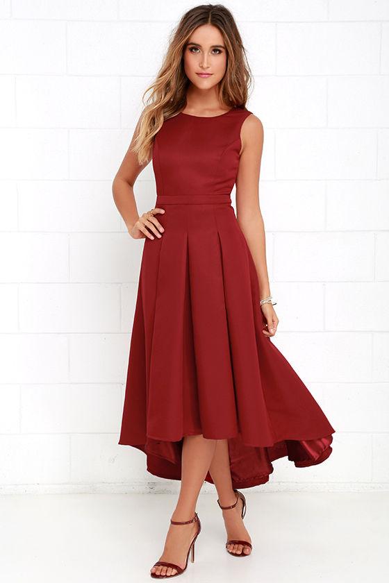 Lovely Wine Red Dress High Low Dress Formal Dress 8200
