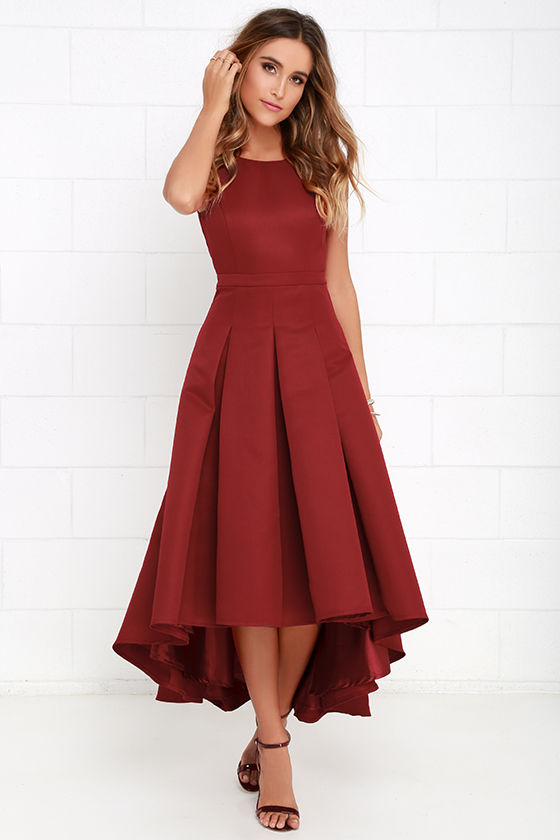 Lovely Wine Red Dress High Low Dress Formal Dress 8200