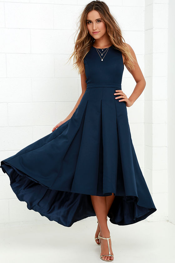 Lovely Navy Blue Dress High Low Dress Formal Dress 8200