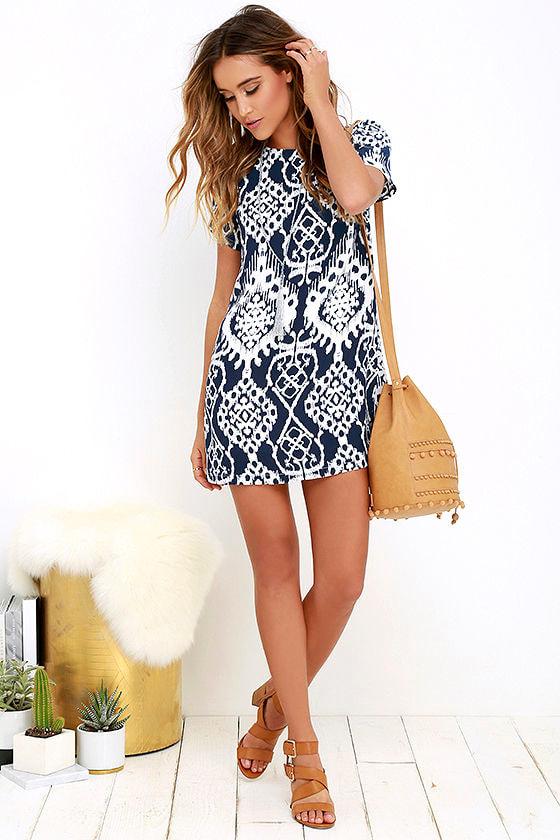 lucy love charlotte navy blue dress print dress shift dress