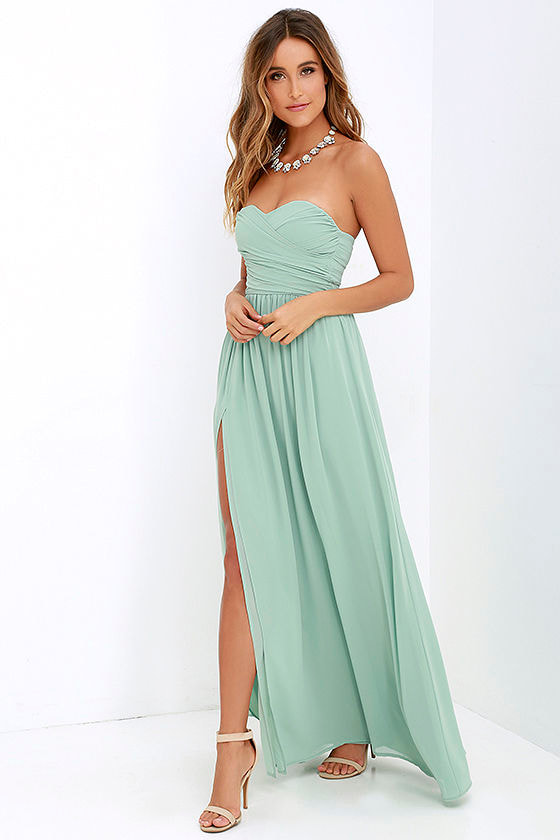 Lovely Sage Green Gown - Strapless Dress - Maxi Dress - $82.00