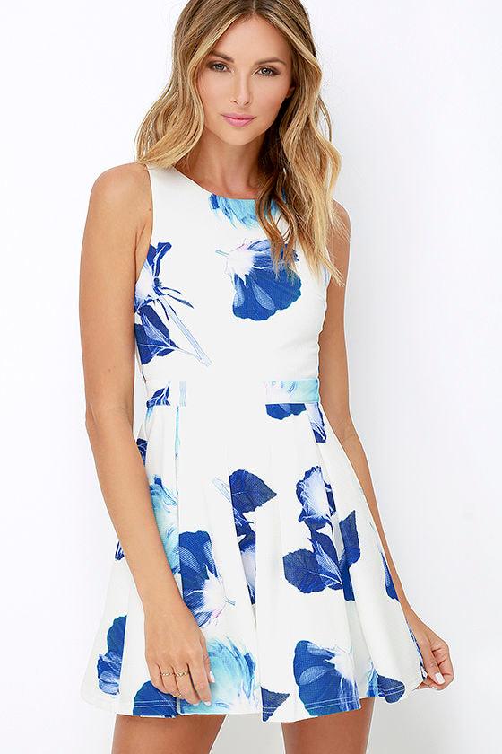 pretty blue and ivory dress floral print dress skater dress 56 00