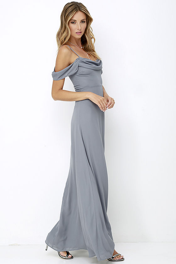 Dark Grey Gown Maxi Dress Dark Grey Dress 7200