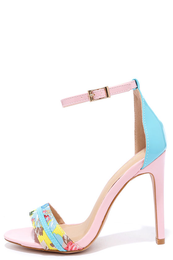 Cute pink heels ankle strap heels floral heels 3400 design language pink and turquoise ankle strap heels mightylinksfo