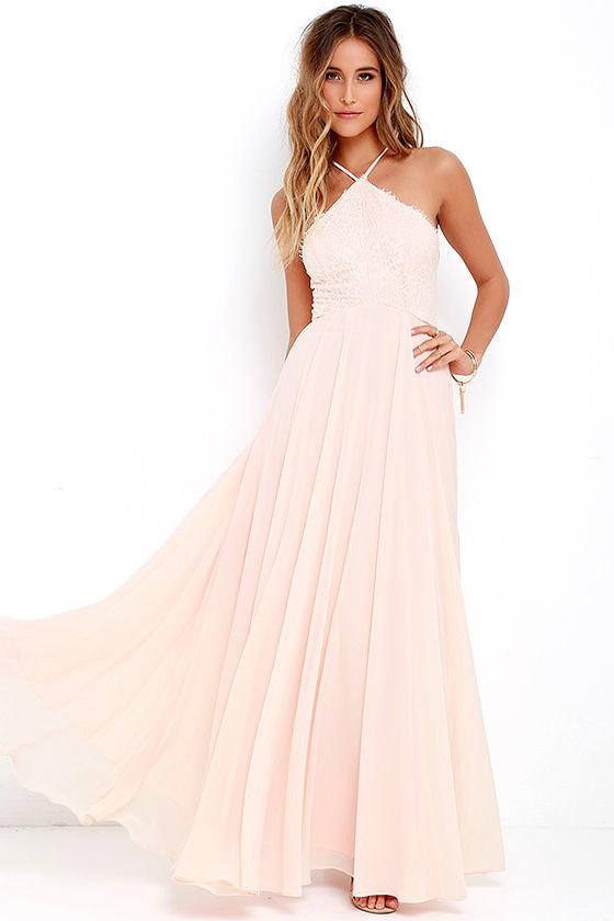 Stunning Light Peach Dress - Maxi Dress - Halter Dress - Lace Dress ...