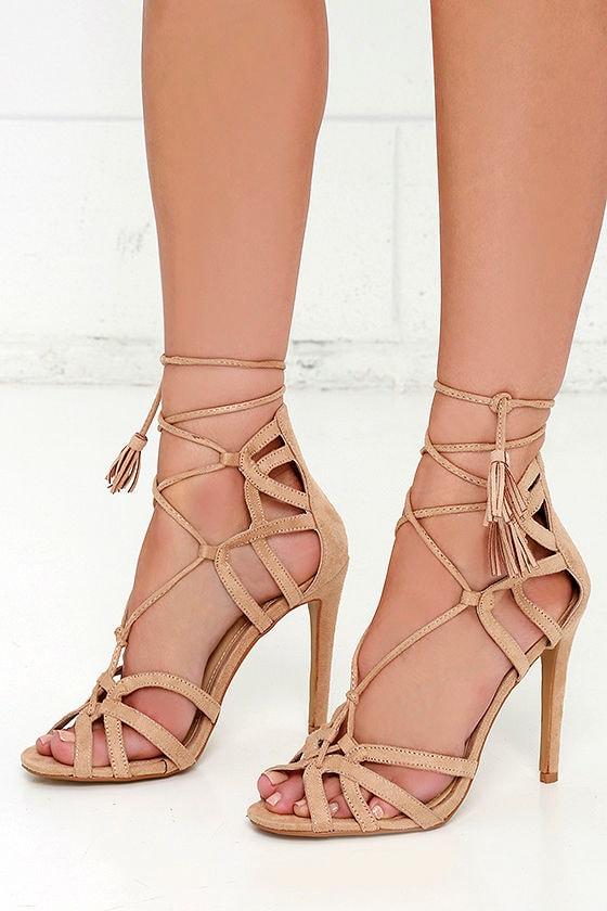 Ladies Nude Patent Leather Stilettos Ankle Strap peep Toes
