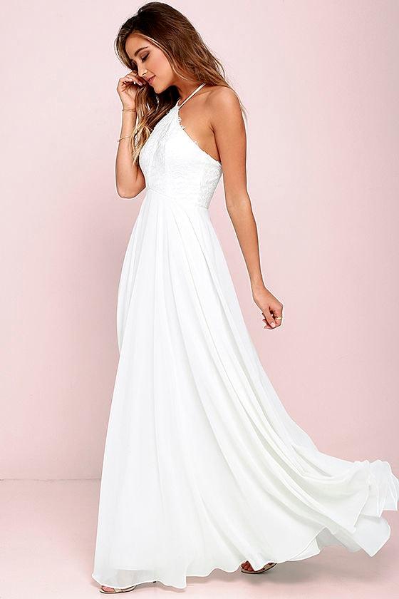Stunning Ivory Dress Maxi Dress Halter Dress Lace Dress 8400