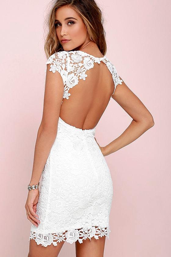 Cute Backless Dress Ivory Dress Lace Dress 5800