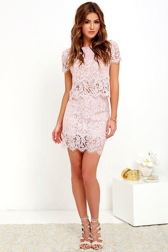 Sexy Blush Pink Two-Piece Dress - Lace Two-Piece Dress ...