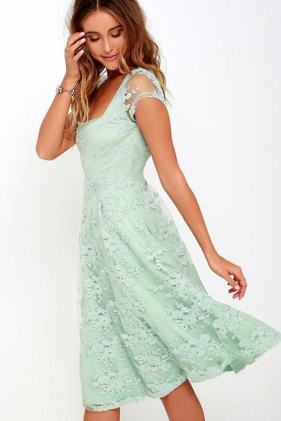 Lovely Sage Green Dress Lace Dress Midi Dress Embroidered