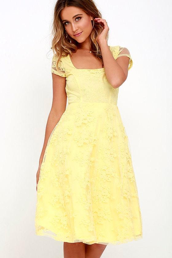 Lovely Yellow Dress Lace Dress Midi Dress Embroidered Dress