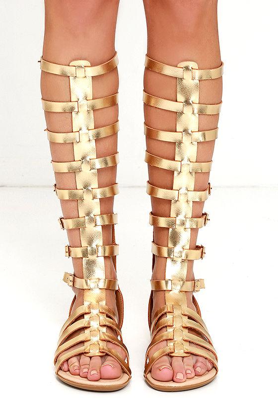 Cute Gold Sandals Flat Sandals Gladiator Sandals 32 00