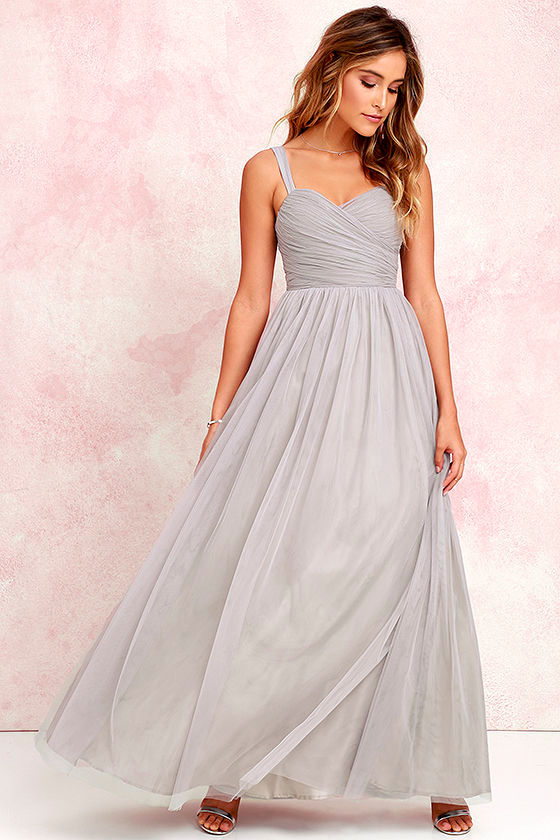 Pretty Grey Gown - Tulle Gown - Bridal Gown - Maxi Dress - $82.00