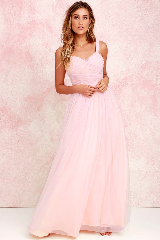 Pretty Blush Pink Gown - Tulle Gown - Bridal Gown - Maxi Dress - $82.00