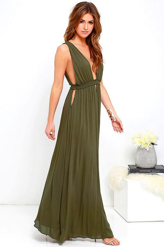 Maxi Dress Olive Green Dress Sleeveless Dress 7600