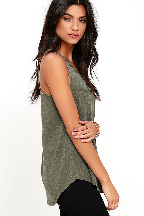 The Racer Tank Washed Olive Green Top Tank Top 32 00