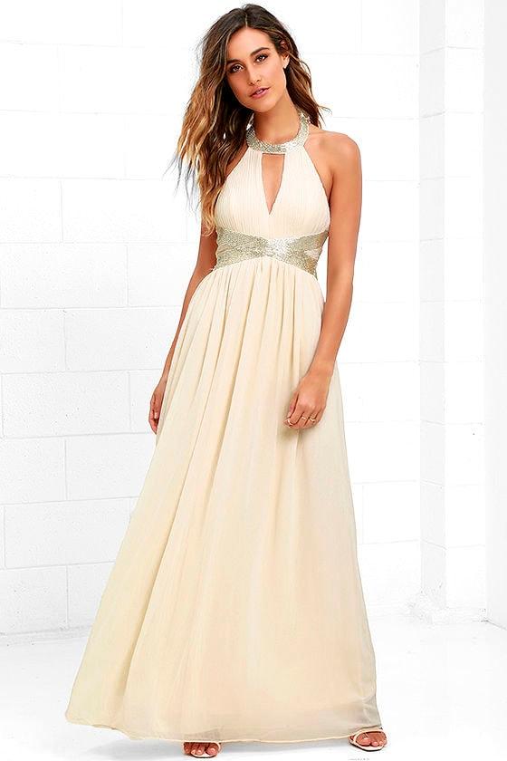 Gorgeous Cream Dress - Halter Dress - Maxi Dress - Beaded Dress - $89.00