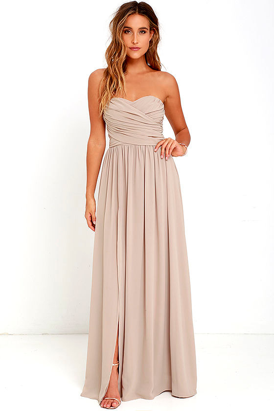 Lovely Taupe Gown - Strapless Dress - Maxi Dress - $82.00