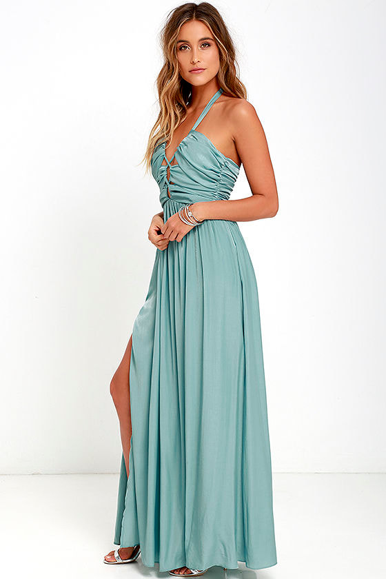 Stunning Maxi Dress - Turquoise Blue Dress - Halter Dress - $82.00