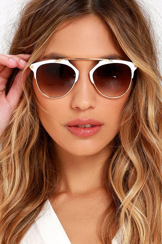 Cool Gold and White Sunglasses - Retro-Inspired Sunglasses - $14.00