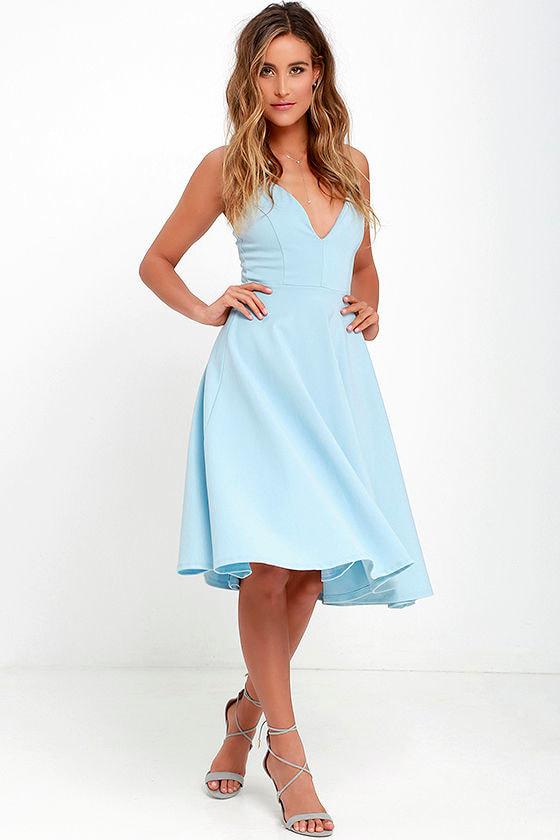 ... Skater Dress  release date  a5622 3e247 Sugared Petals Light Blue Midi  Dress ... 5b7a360b2