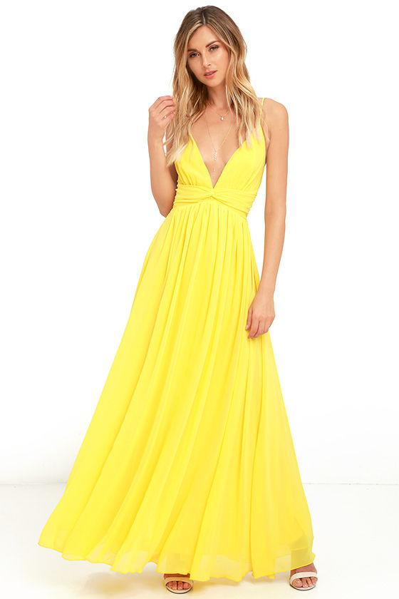 Lovely Yellow Dress - Maxi Dress - Bridesmaid Dress - Formal Dress ...