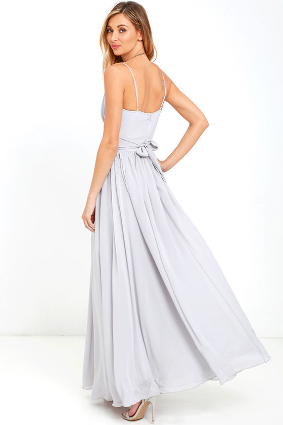 Lovely Grey Dress - Maxi Dress - Bridesmaid Dress - Formal Dress ...