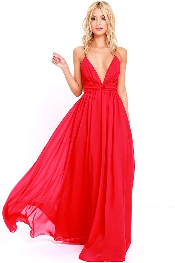 Lovely Red Dress - Maxi Dress - Bridesmaid Dress - Formal Dress ...