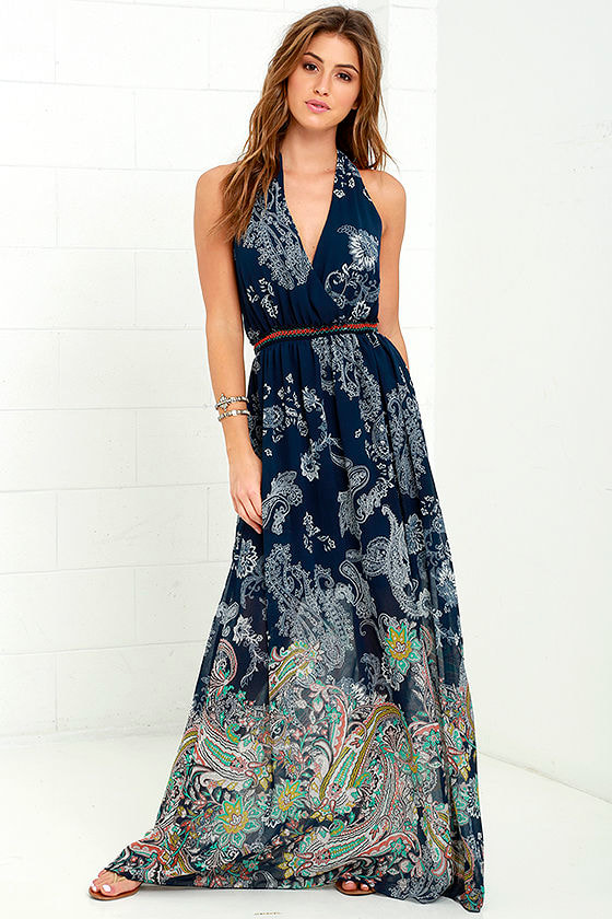 Paisley Print Dress - Maxi Dress - Halter Dress - $79.00