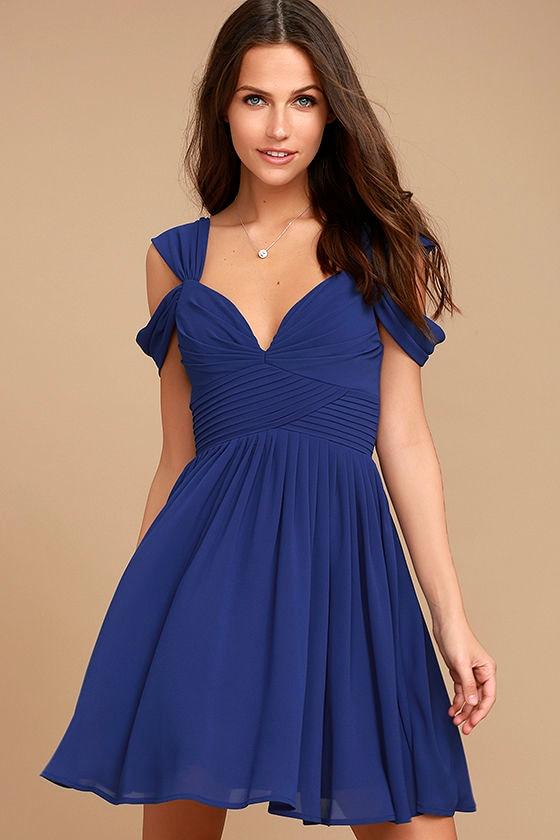 Lovely Royal Blue Dress Skater Dress Formal Dress 5900