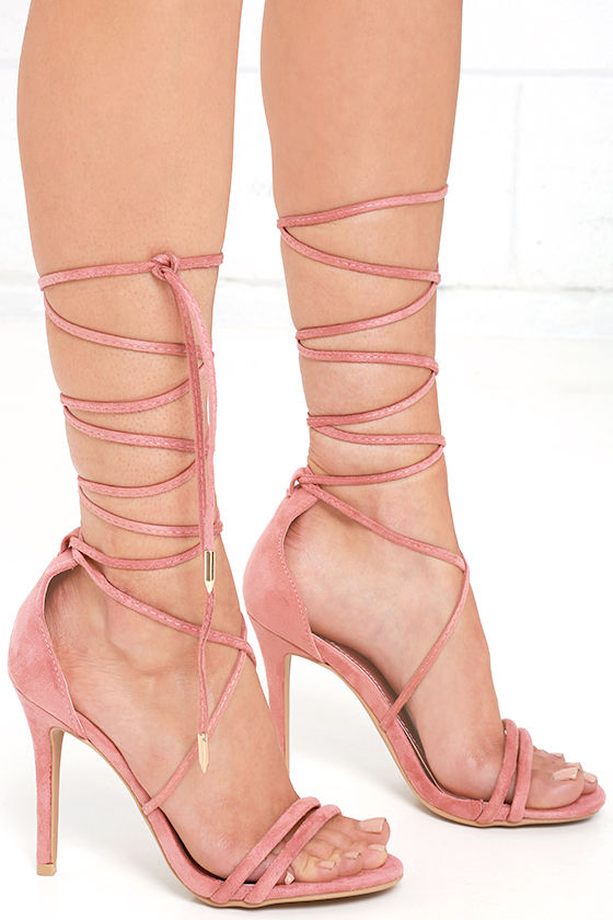 Sexy Blush Pink Heels - Lace-Up Heels - Dress Sandals - $34.00