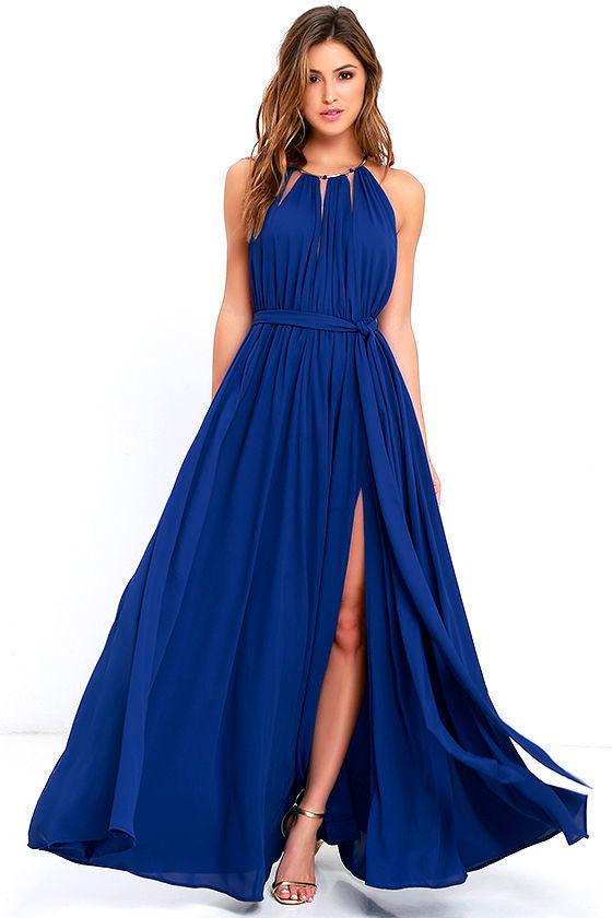 Lovely Royal Blue Maxi Dress - Blue Gown - Halter Maxi - $115.00
