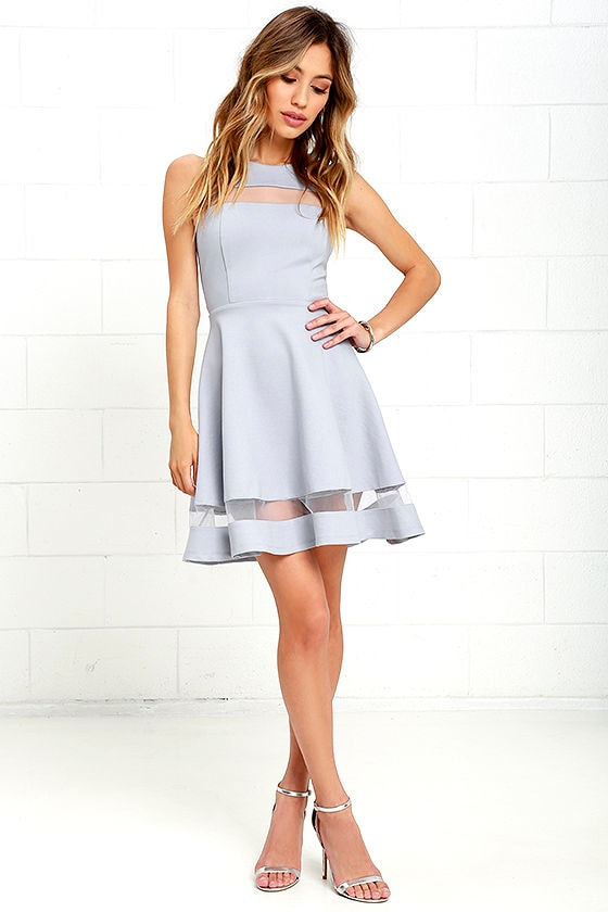 Cute Blue Grey Skater Dress - Homecoming Dress - $54.00