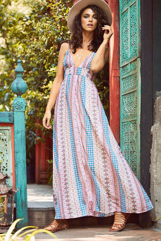 2e69c217f9 Pretty Print Dress - Maxi Dress - Multicolored Dress