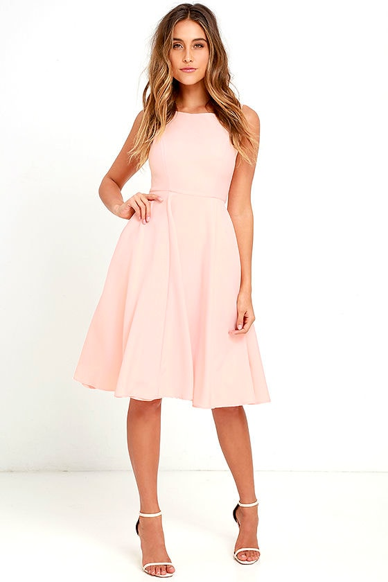 Sweetly Sung Peach Midi Dress