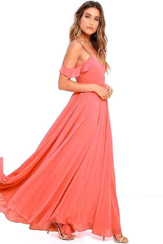 Stunning Coral Pink Dress - Maxi Dress - Gown - Formal Dress - $79.00