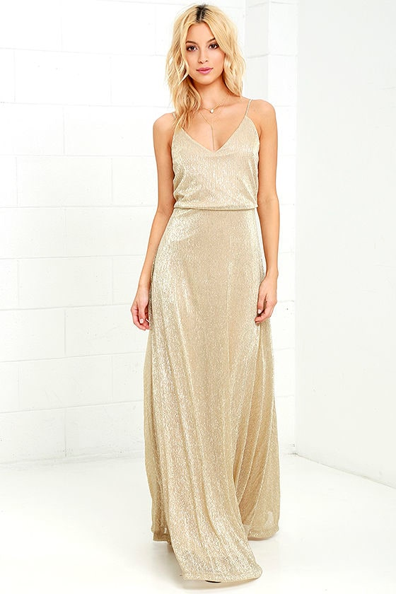 Lovely Gold Dress - Maxi Dress - Metallic Dress - $94.00