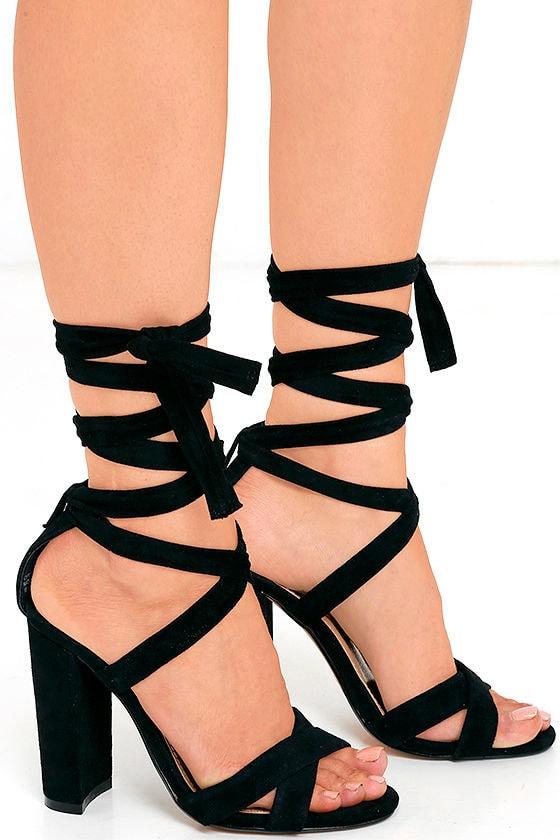 Steve Madden Christey Black Heels Lace Up Heels 109 00