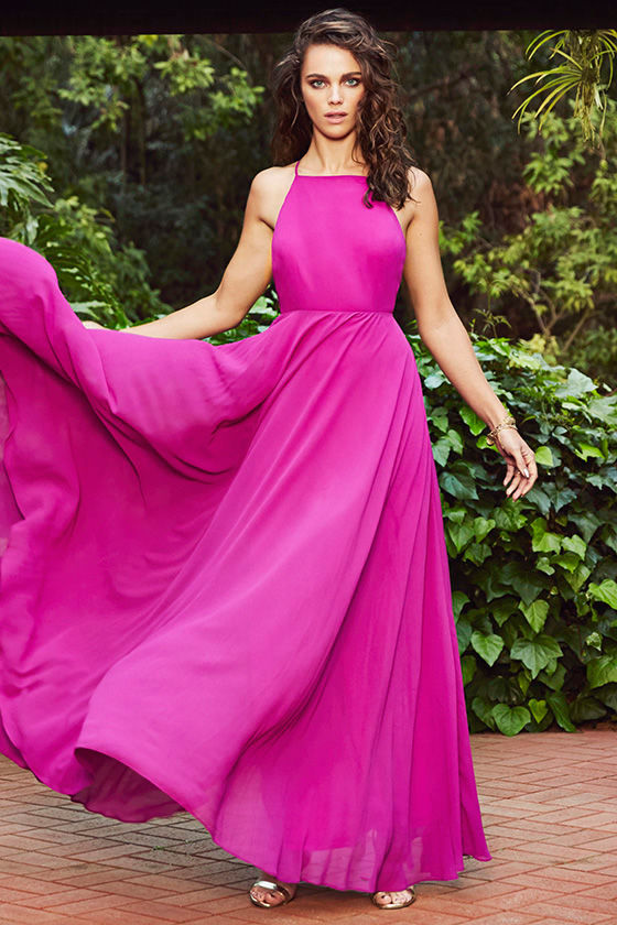 Beautiful Magenta Dress - Maxi Dress - Backless Maxi Dress