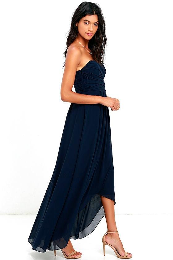 Stunning Navy Blue Dress - High-Low Dress - Maxi Dress - Strapless ...