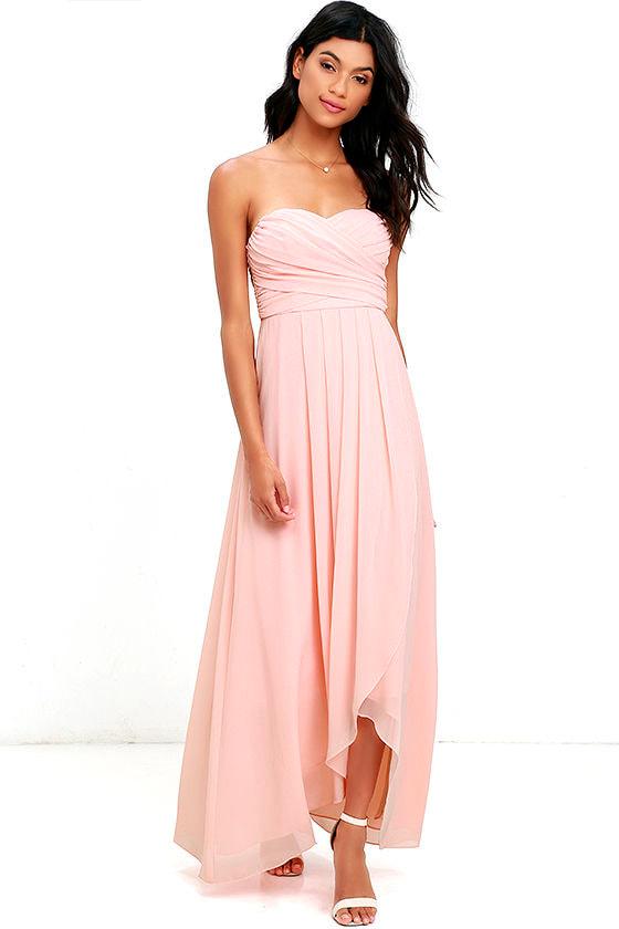 Stunning Peach Dress - High-Low Dress - Maxi Dress - Strapless Gown ...