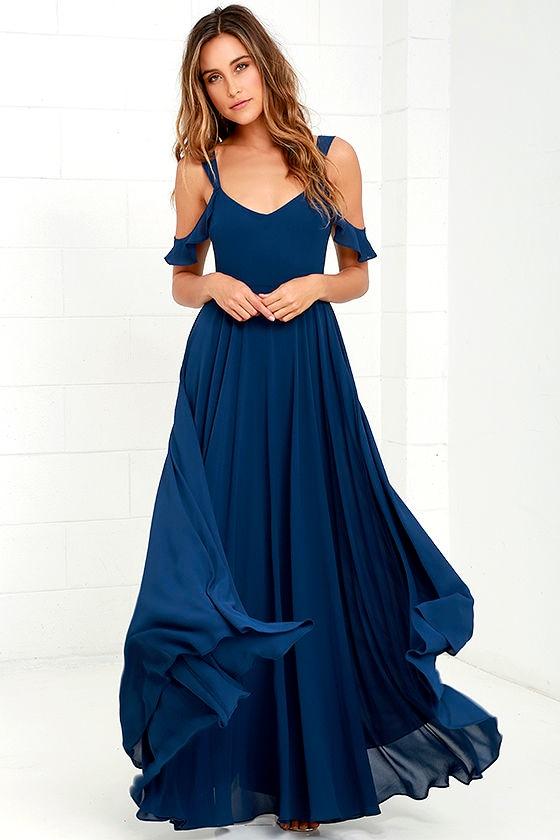 Stunning Navy Blue Dress Maxi Dress Gown Formal Dress 7900
