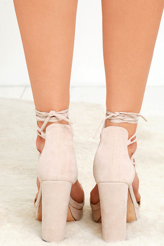 Suede Peep Toe Strappy Lace-Up Stiletto Heel $50.50